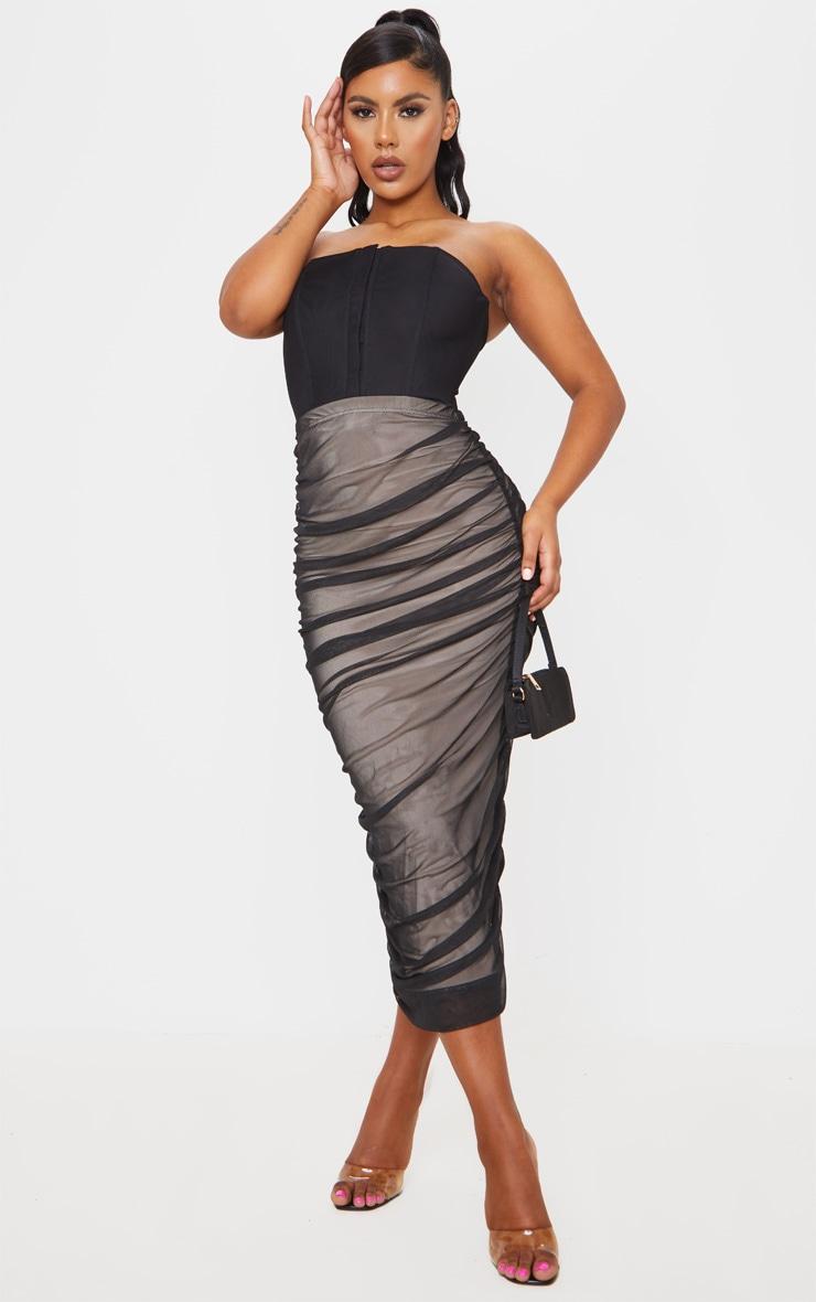 Black Ruched Mesh Midaxi Skirt 1