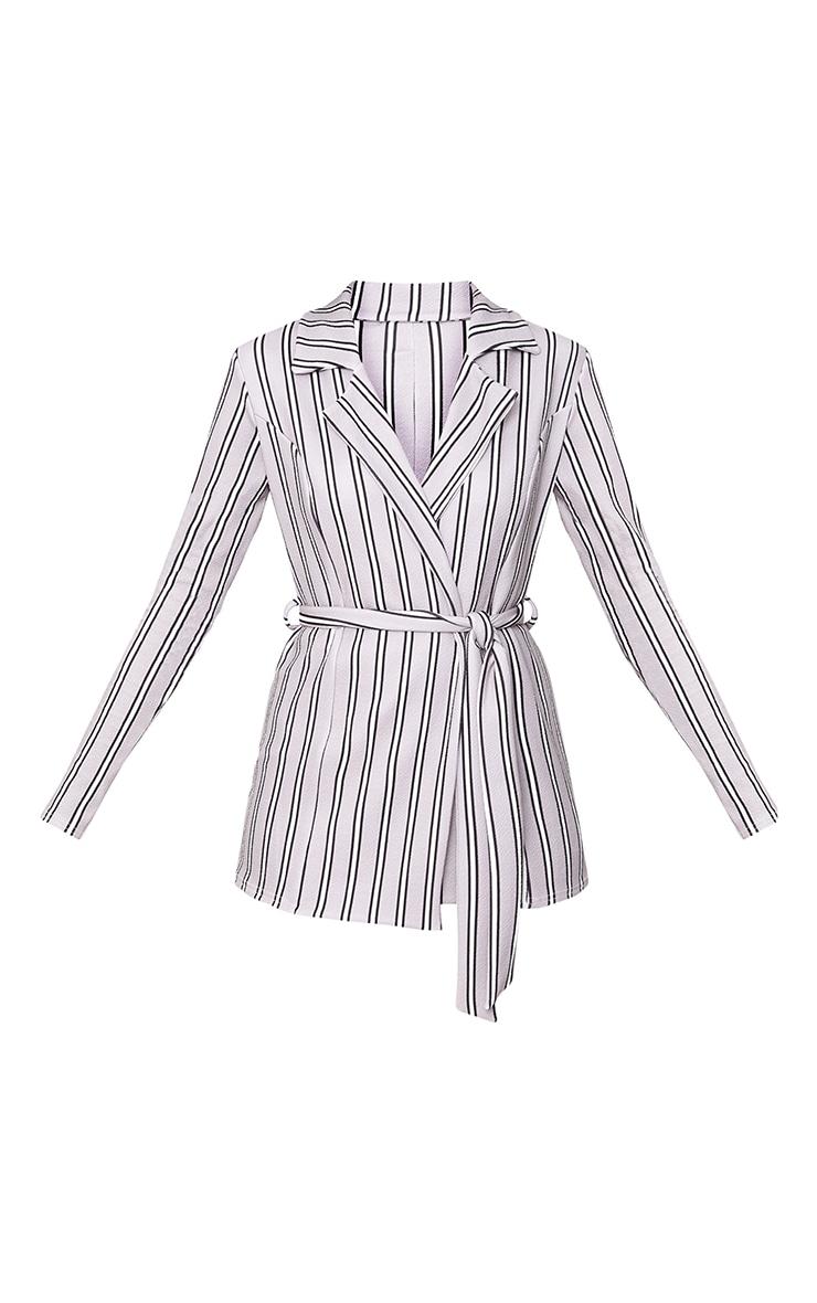 Grey Stripe Belted Blazer 3