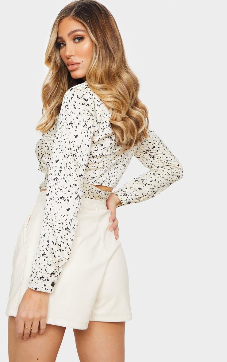 White Satin Mono Leopard Tie Front Blouse 2