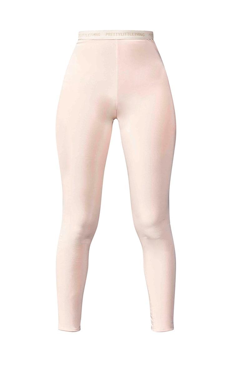 PRETTYLITTLETHING Tall Nude High Waisted Slinky Leggings 5