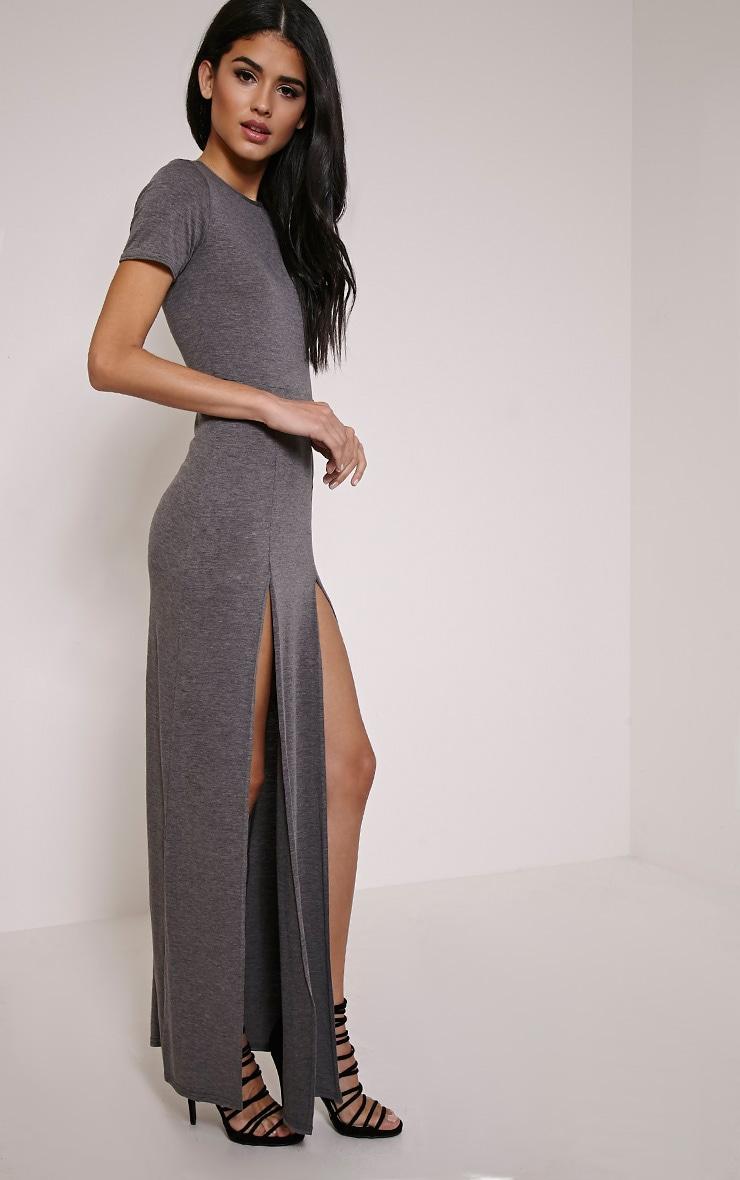 Basic Charcoal Split Front Maxi T Shirt Dress 3