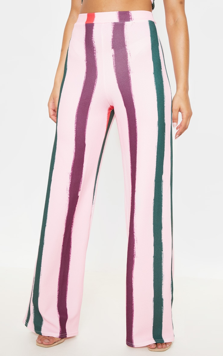 Light Pink Multi Thick Stripe Wide Leg Pants  2