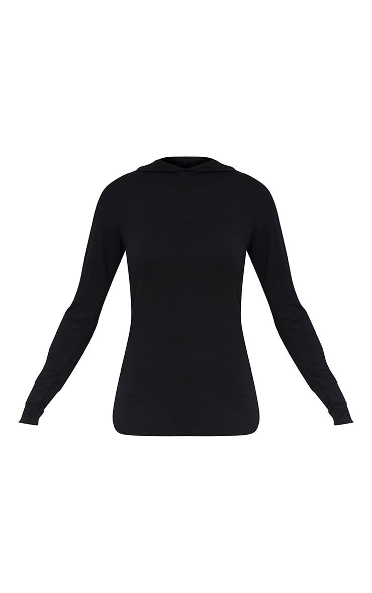 Basic sweat à capuche en jersey noir 3