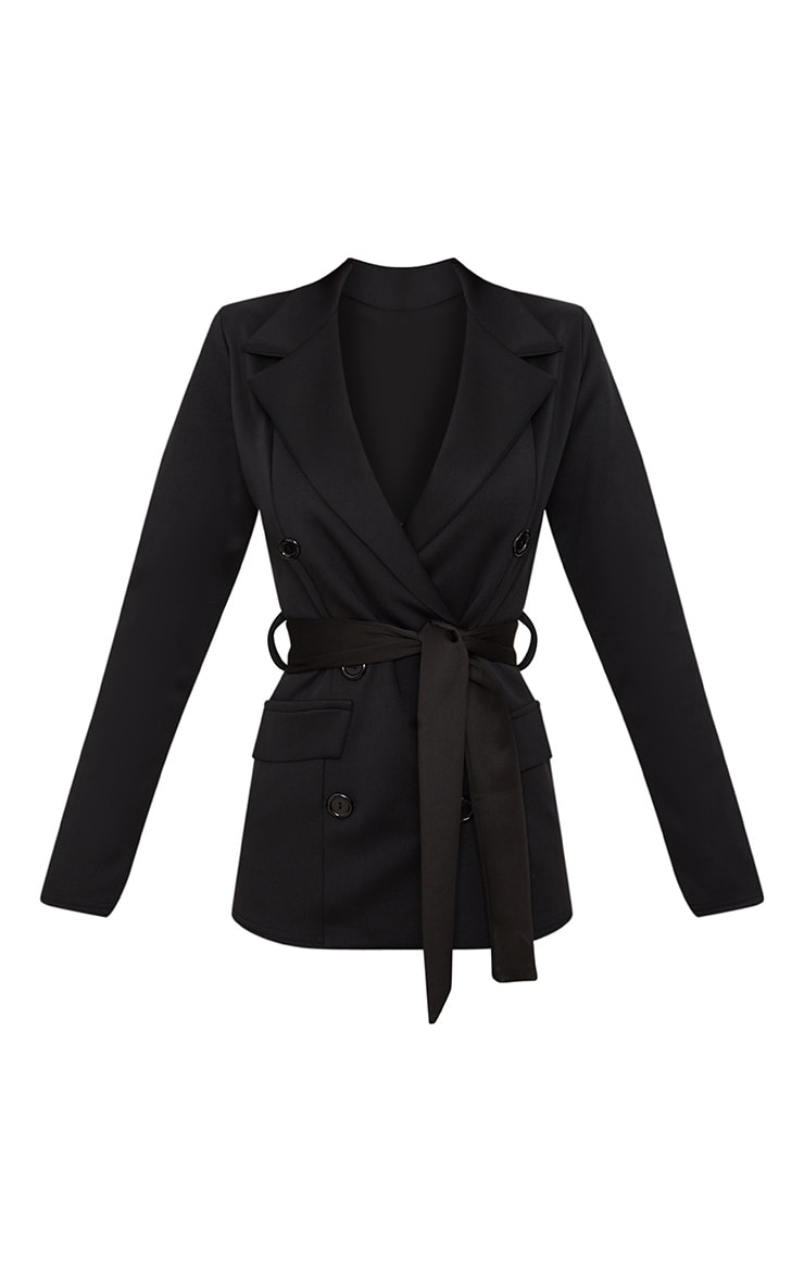 Black Double Breasted Belted Blazer 3