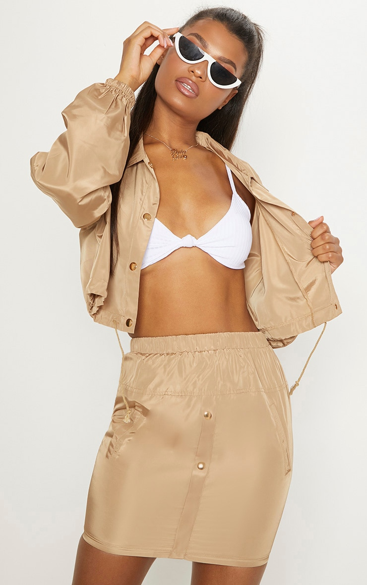 Camel Shell Suit Mini Skirt