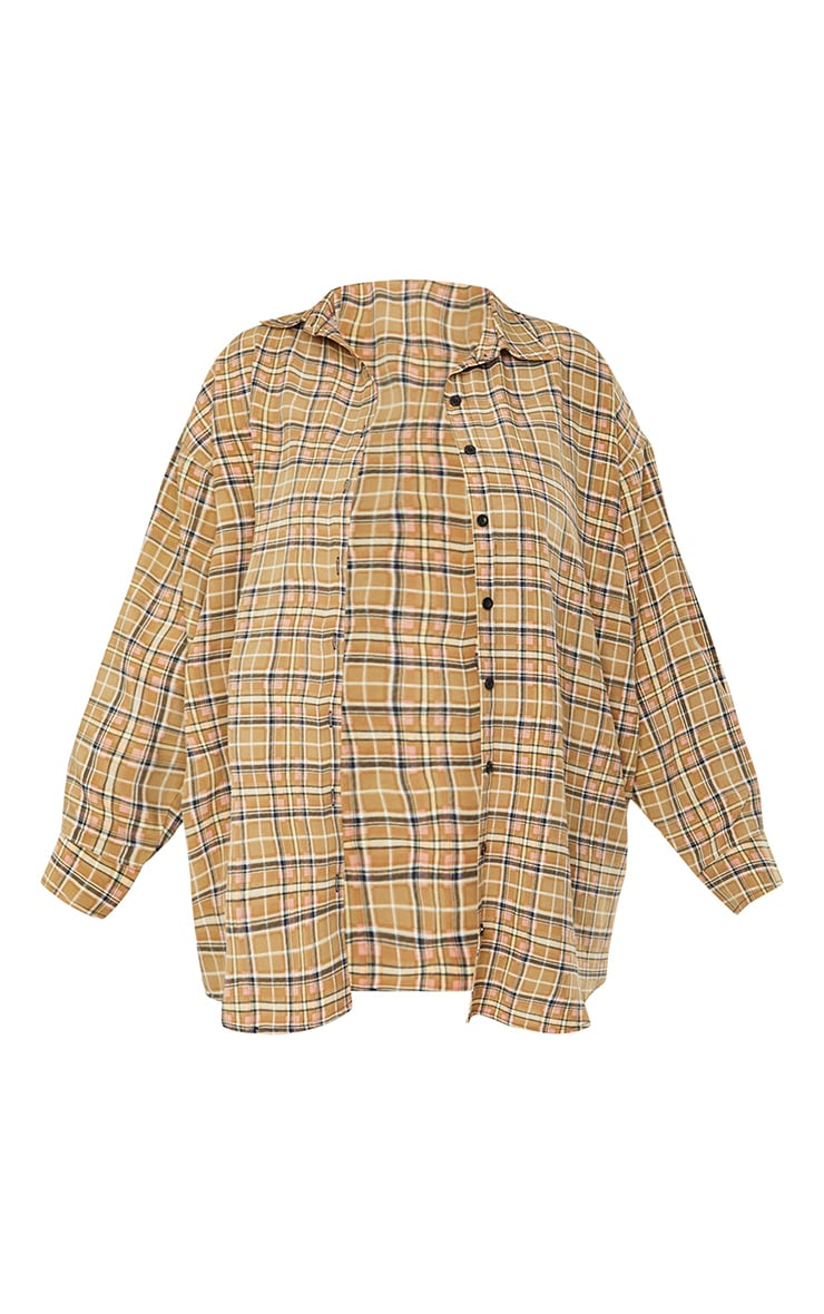 Plus Stone Check Batwing Shirt 5