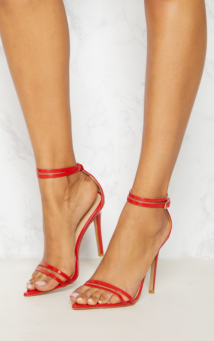 Red Point Toe Barely There Sandal 1