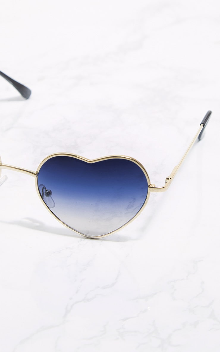 Blue Metal Heart Sunglasses 4