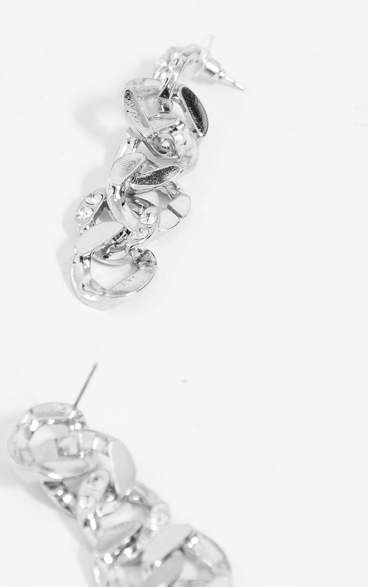 Silver Diamante Drop Chain Earrings 2