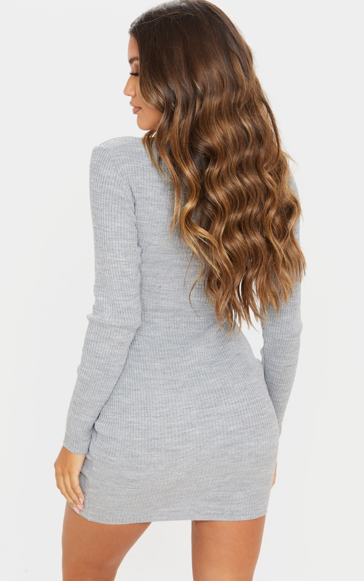 Grey High Neck Zip Front Rib Knit Dress 2