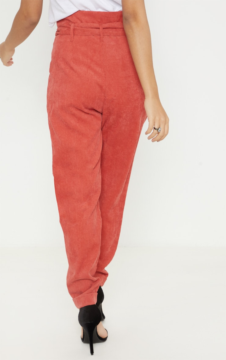 Petite Rust Cord Paper Bag Belted Trouser 4