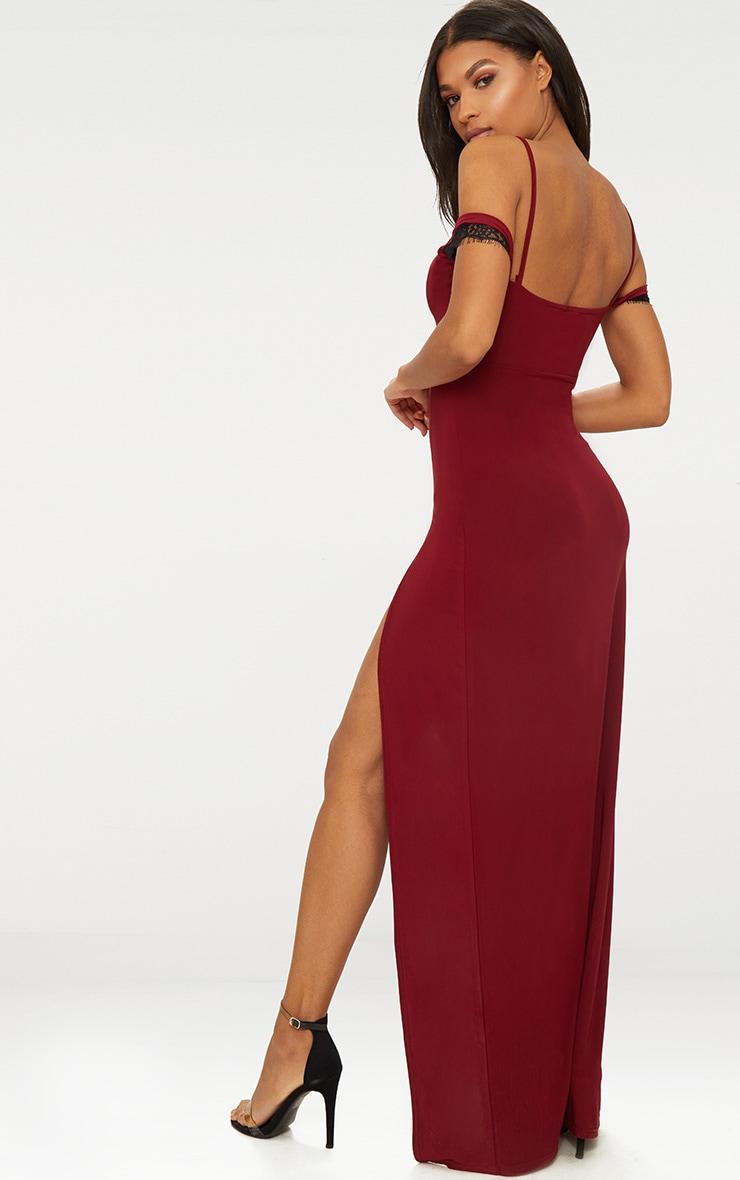 Burgundy Lace Trim Cold Shoulder Extreme Split Maxi Dress 1