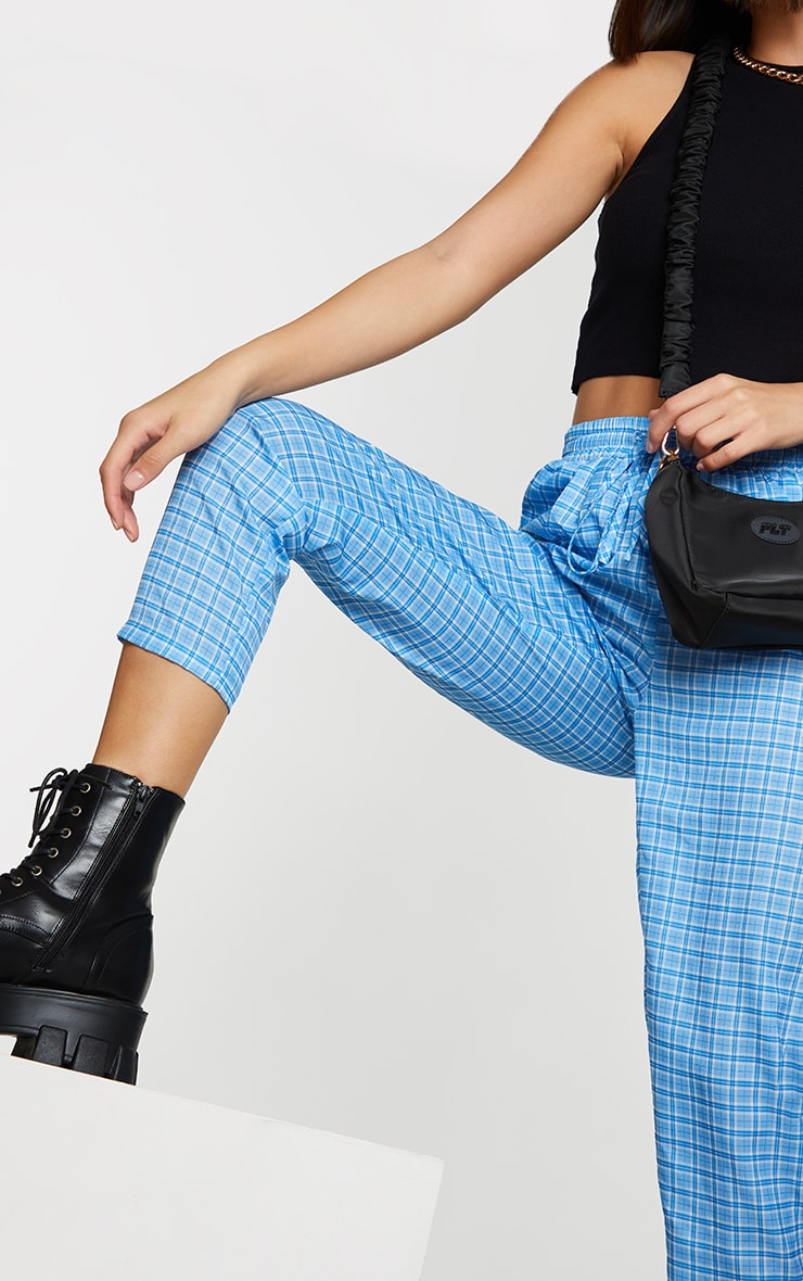 Blue Checked Casual Pants 4