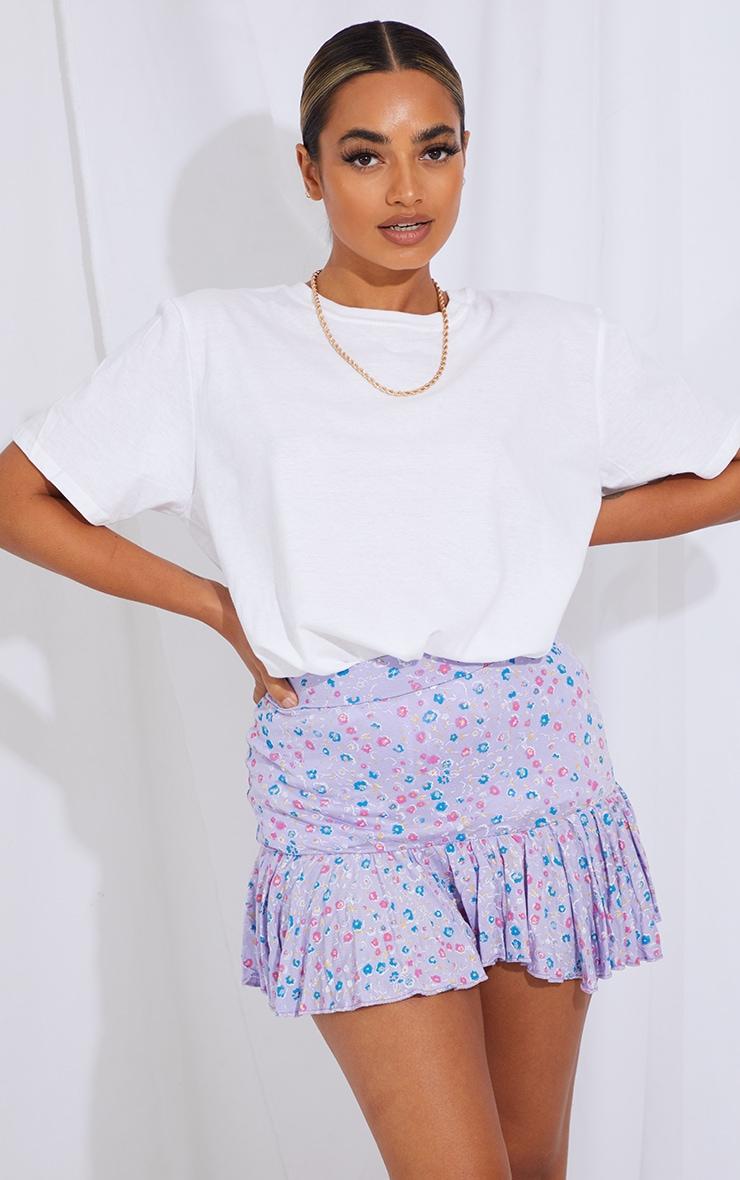 Petite Purple Ditsy Floral Frill Hem Mini Skirt 4