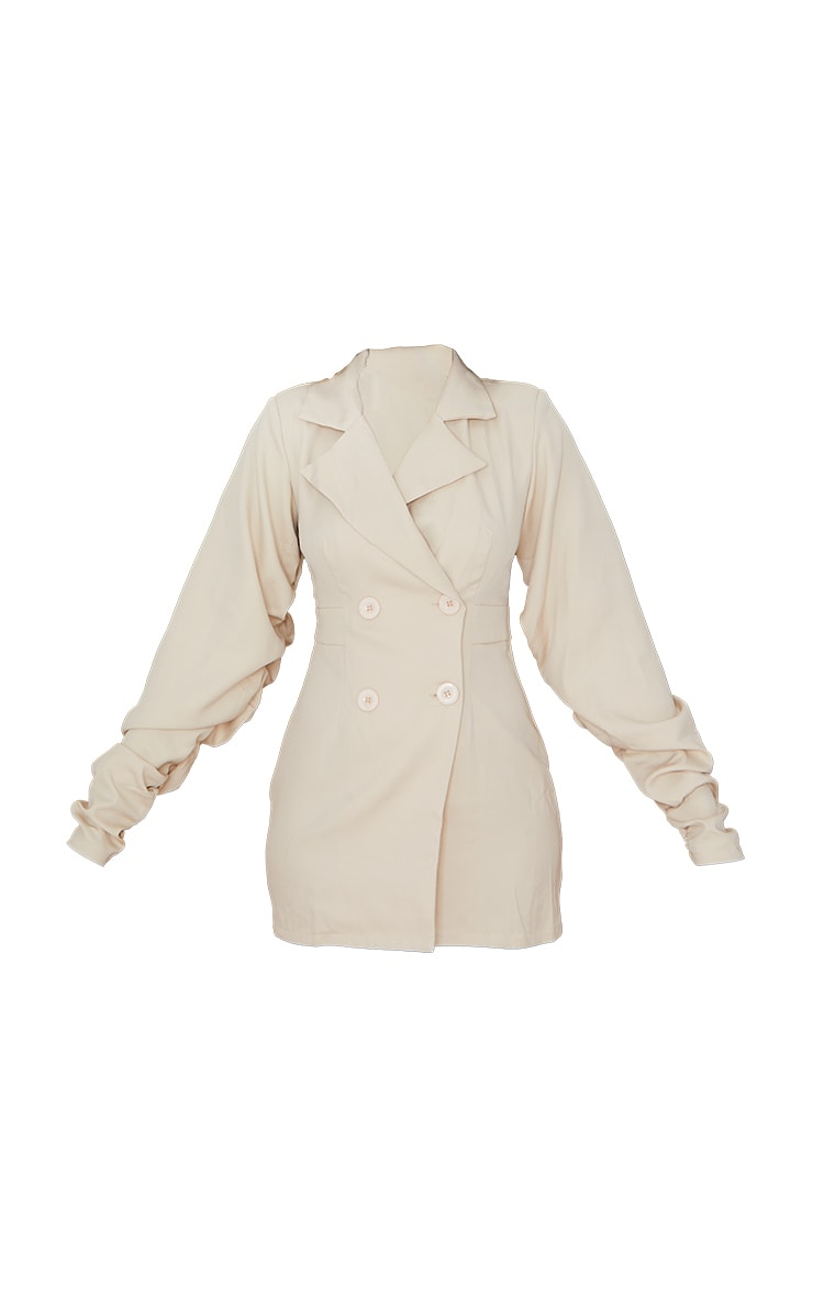 Stone Exaggerated Ruched Sleeve Blazer Dress 5