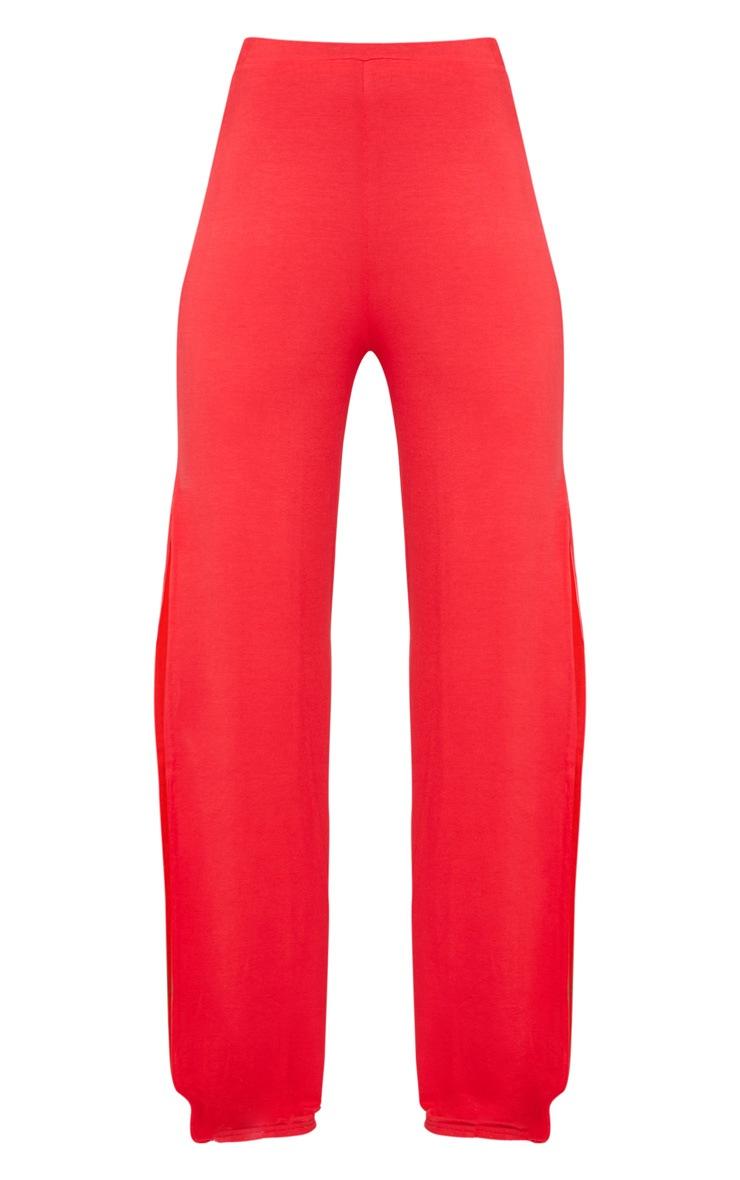 Red Jersey High Waist Split Wide Leg Pants 5