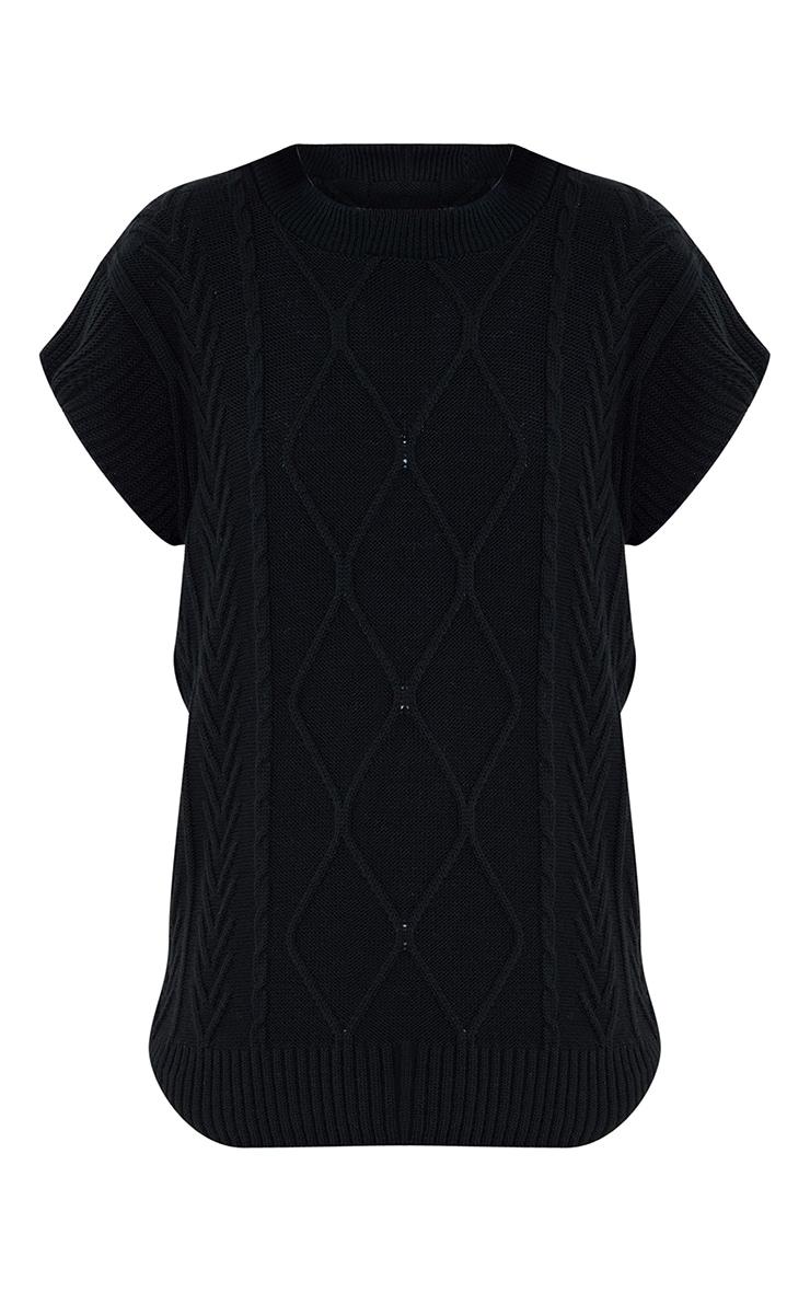 Black Turtle Neck Cable Knit Sleeveless Vest 5
