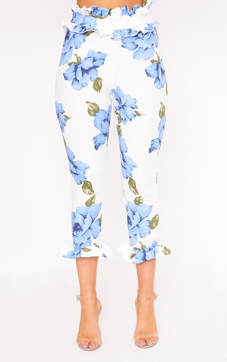 Keren Blue Floral Frill Trim Trousers 2