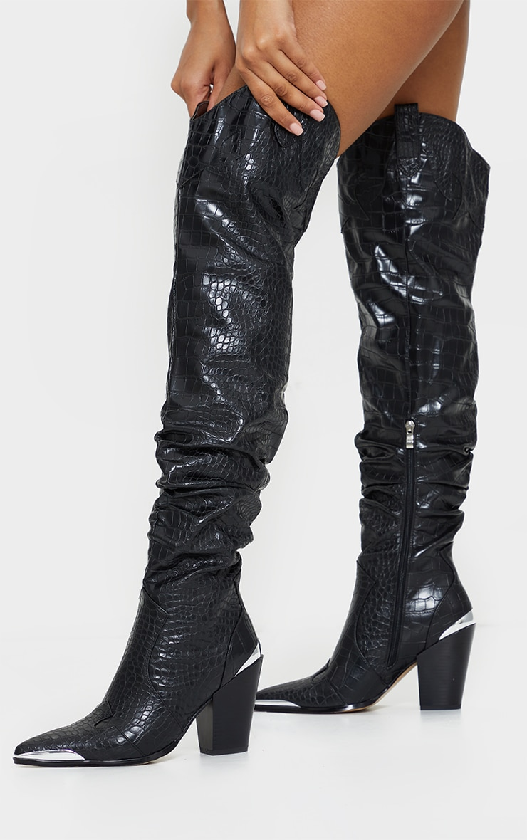 Black Croc Slouchy Thigh High Western Boots 1