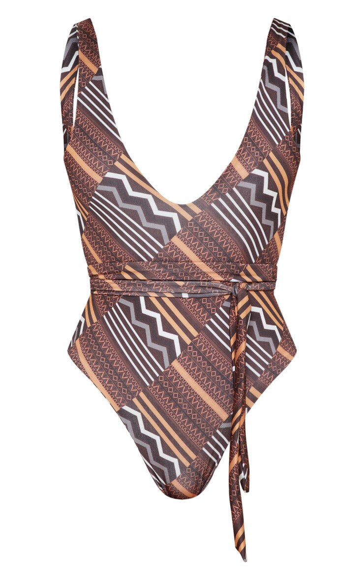 Brown Tribal Print Tie Waist Swimsuit 3