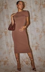 Recycled Maternity Chocolate Contour Jersey Short Sleeve Midi Dress 1