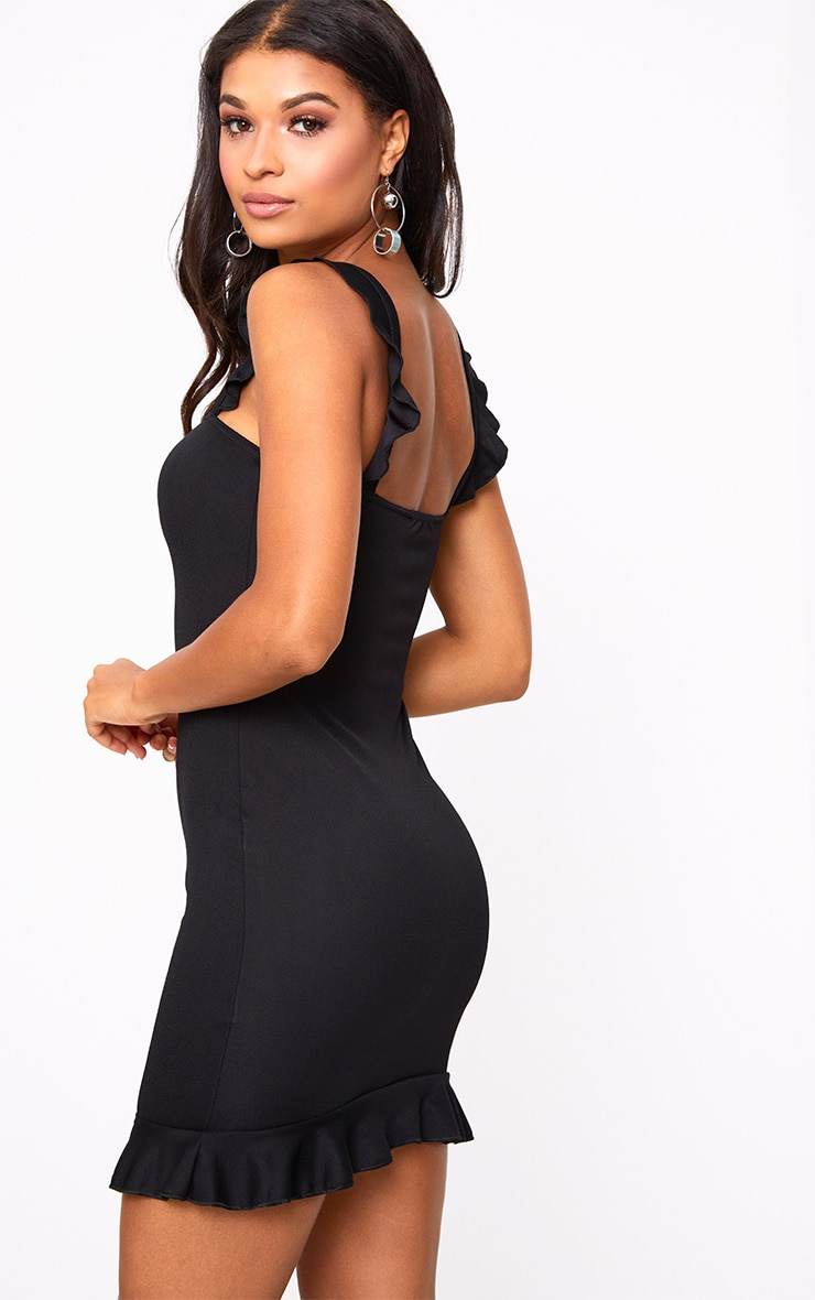 Black Square Neck Frill Strap Bodycon Dress 2