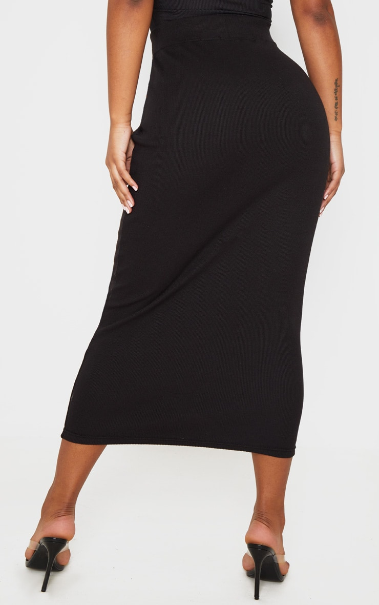 Black Structured Rib Bodycon Midaxi Skirt 4