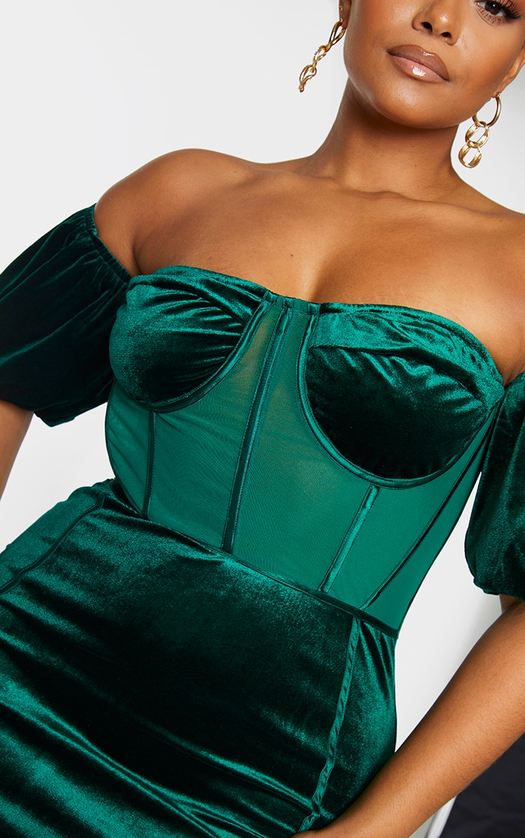 Plus Emerald Green Velvet Corset Bardot Mesh Insert Bodycon Dress 4