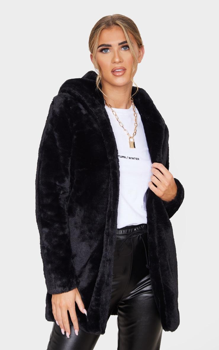 Black Faux Fur Hooded Coat 1