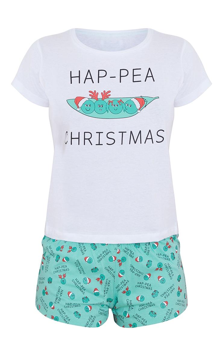 Green Hap-Pea Christmas Short Sleeve T-Shirt And Shorts Set 5