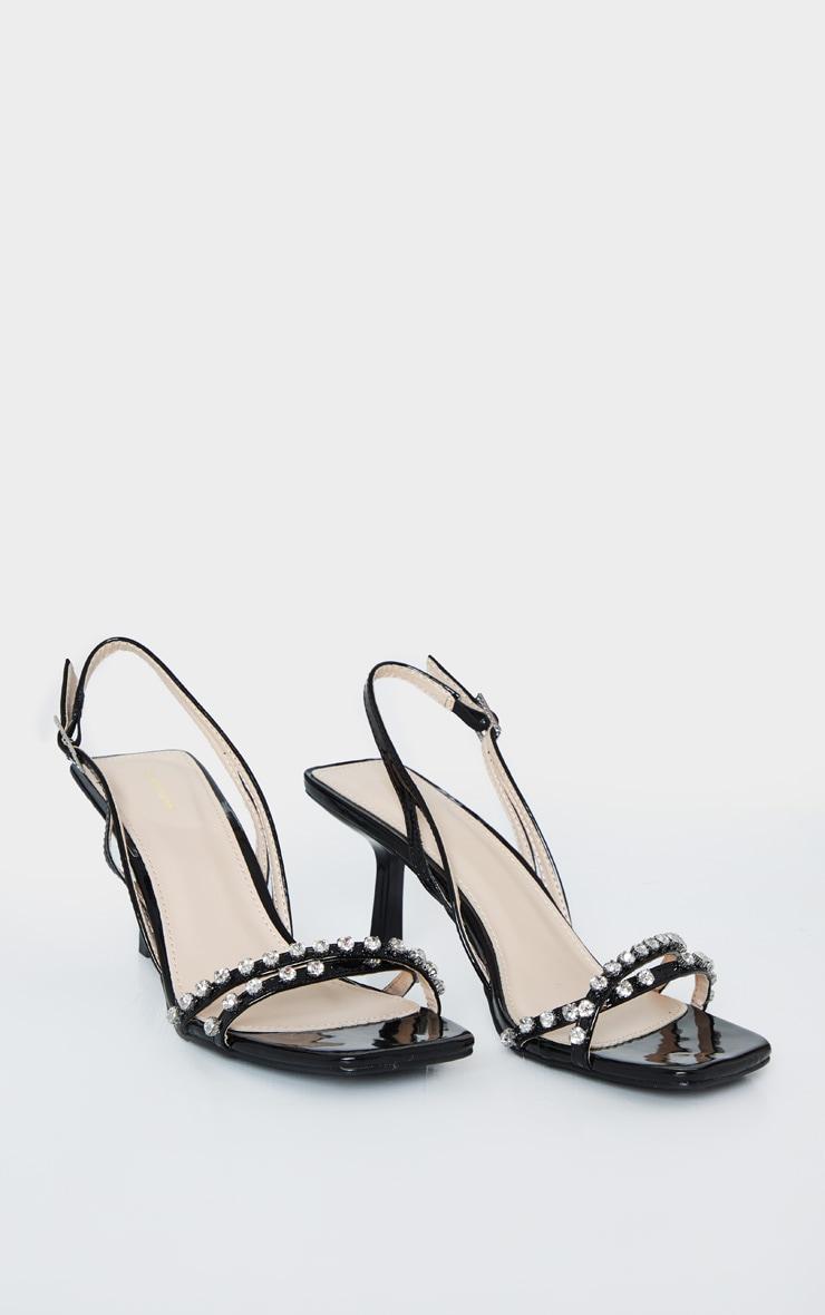 Black Low Heel Square Toe Diamante Strap Sandal 3