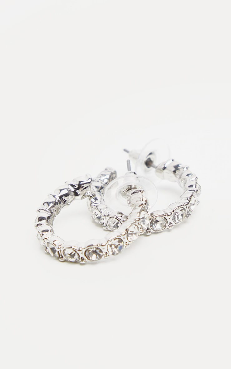 Silver Diamante Mini Hoop Earrings 1