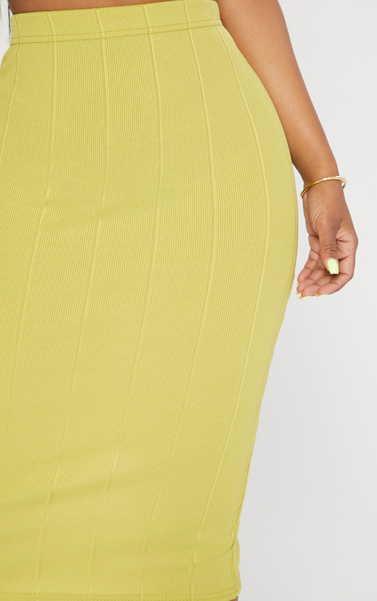 Shape Lime Ribbed Bandage Midi Skirt 5