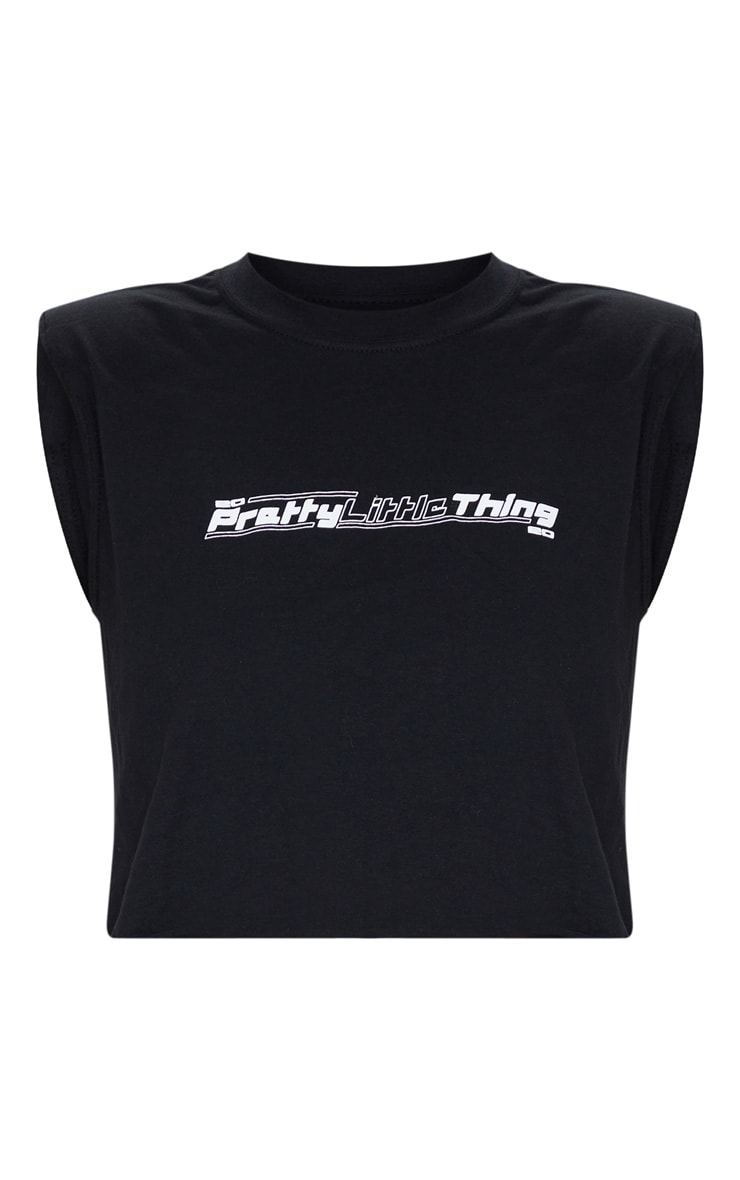 PRETTYLITTLETHING - T-shirt court noir à épaulettes et slogan 5