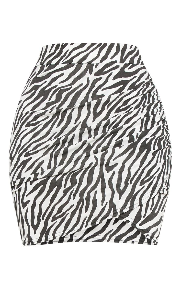 Shape White Zebra Print Ruched Side Split Bodycon Skirt  3