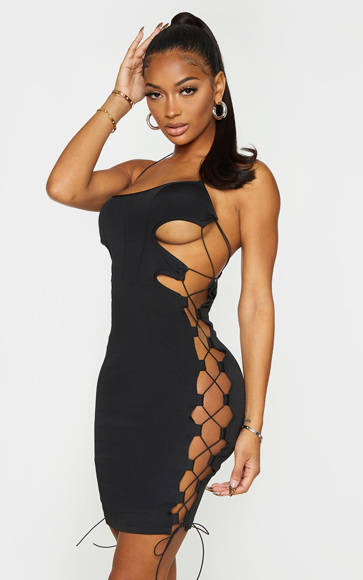 Shape Black Cut Out Lace Up Seam Detail Bodycon Dress