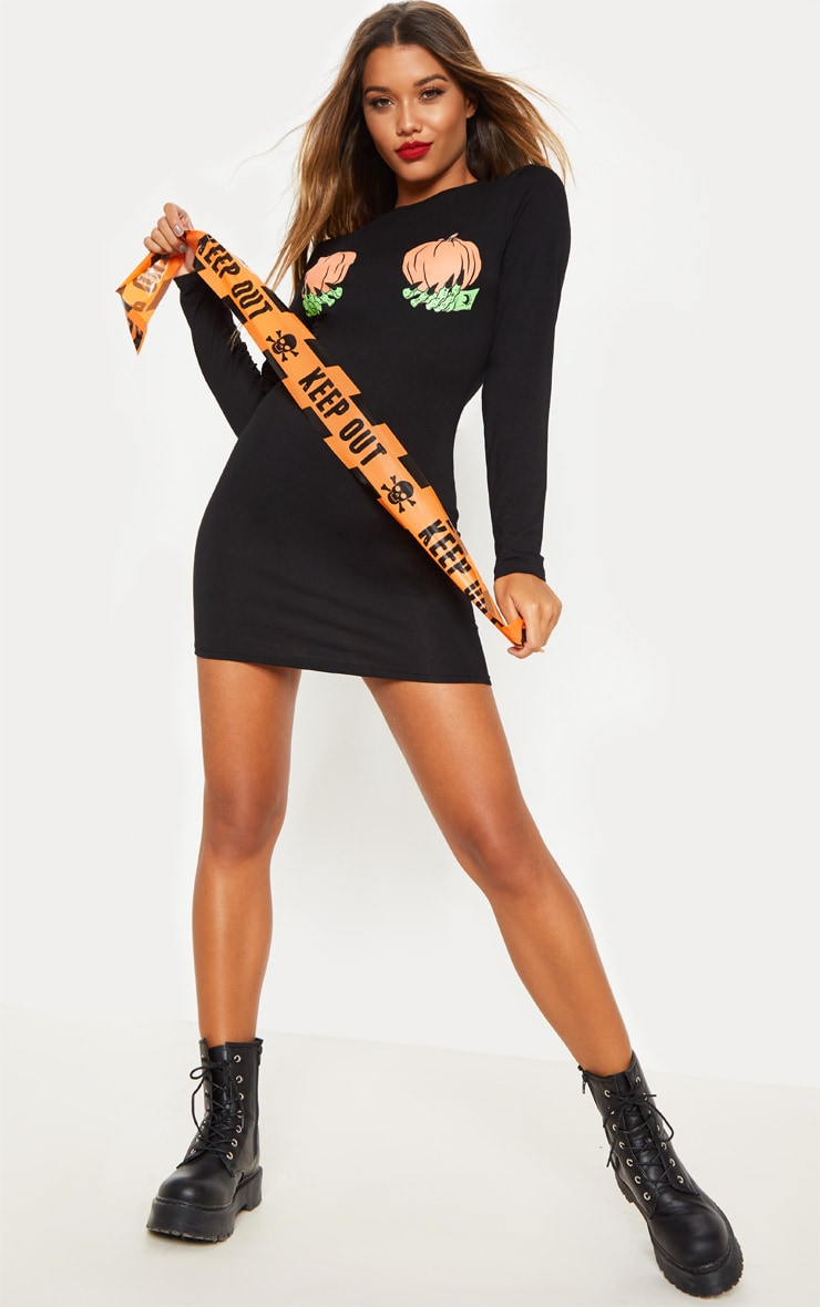 Black Pumpkin Hands Slogan Long Sleeve Dress