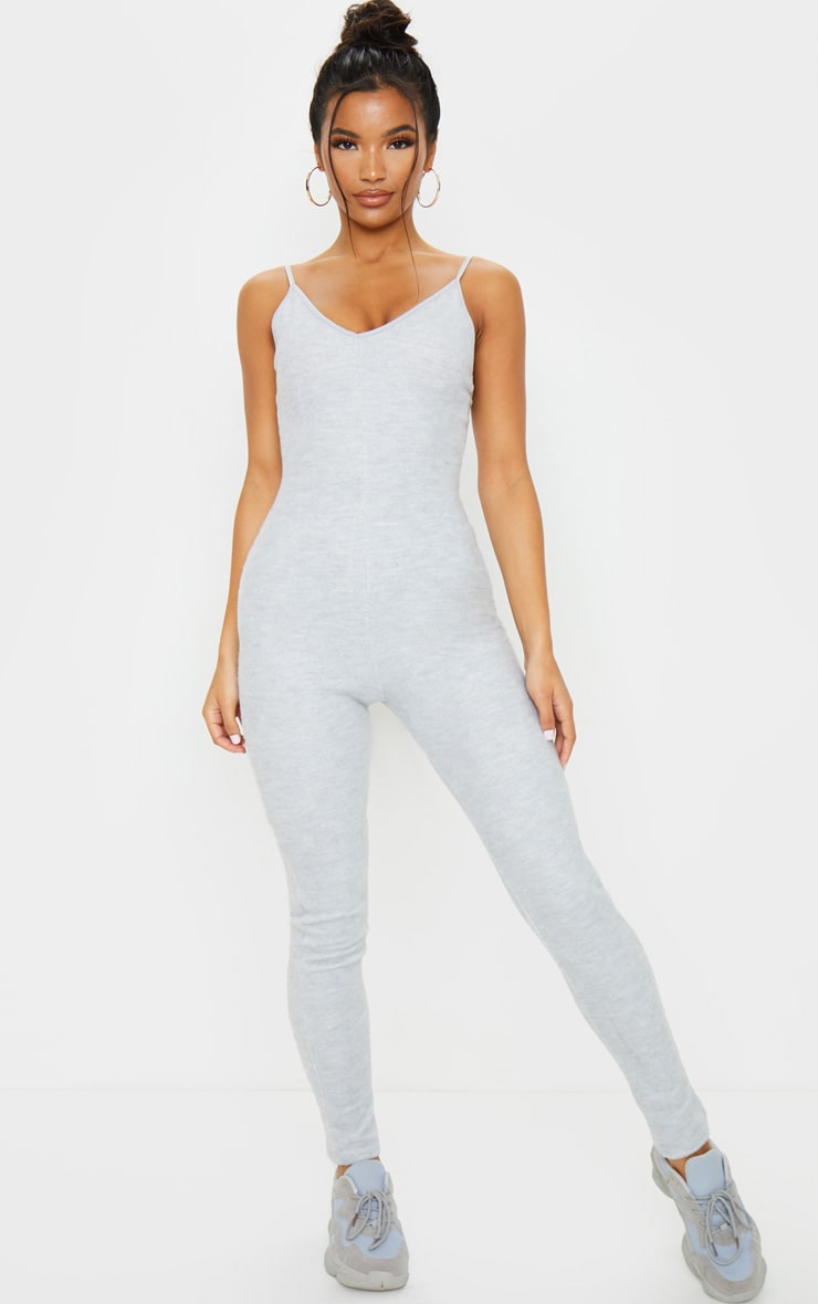 Grey Soft Fleece Strappy Plunge Jumpsuit 3