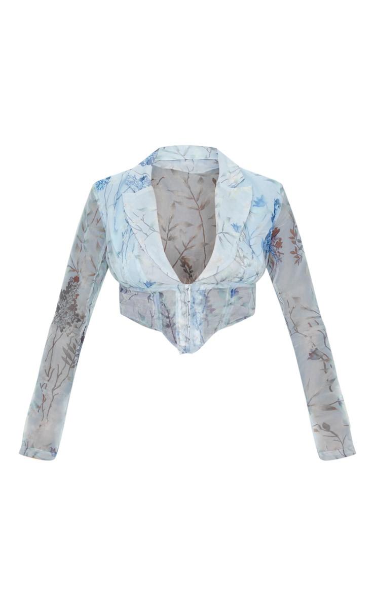 Blue Floral Sheer Organza Pointed Hem Shirt 3