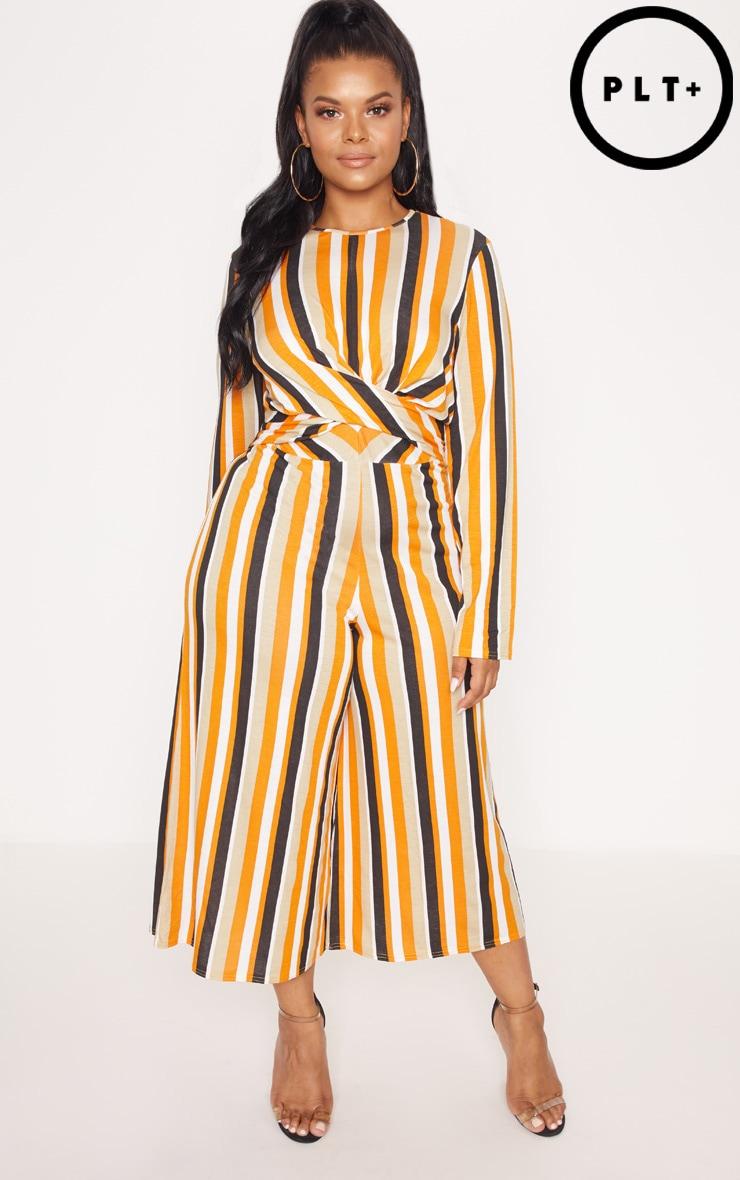 Plus Orange Twist Front Stripe Culotte Jumpsuit