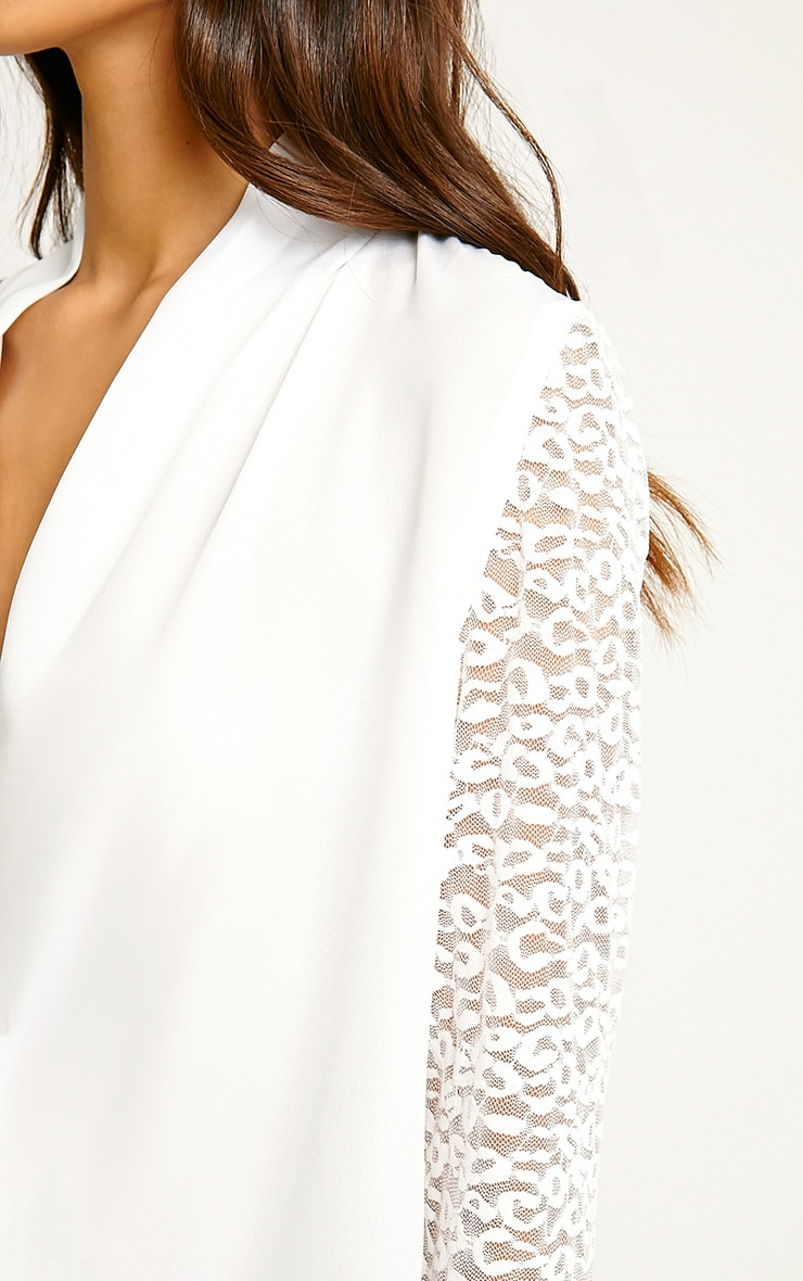 Carlene White Lace Sleeve Wrap Top 5