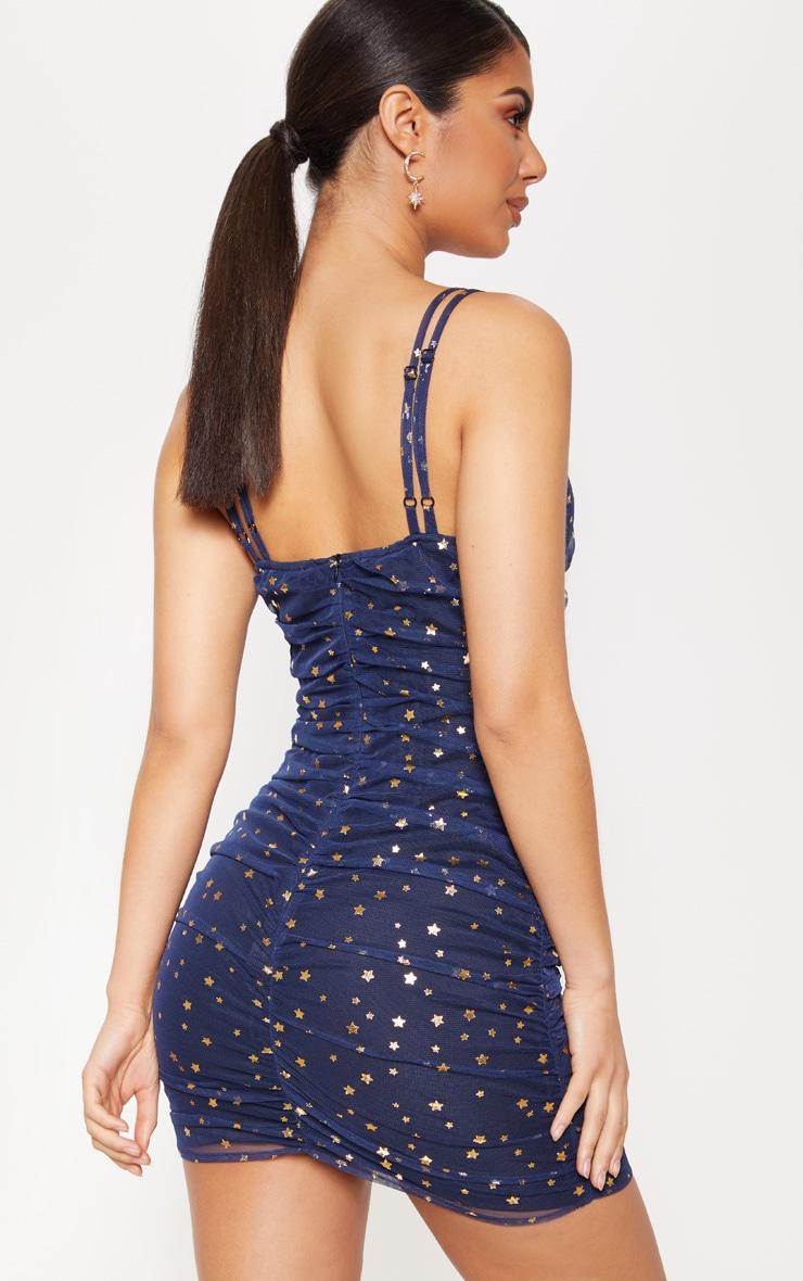 Navy Star Mesh Ruched Bodycon Dress 2