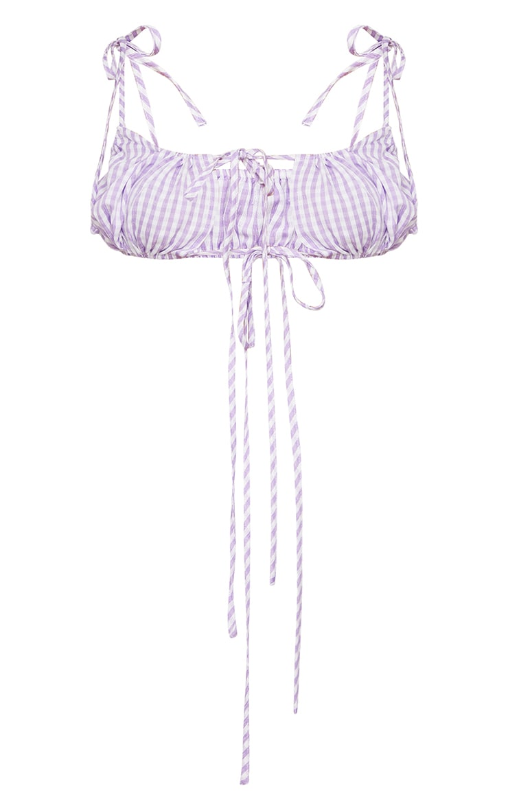 Lilac Woven Gingham Printed Tie Strap Bralet 5