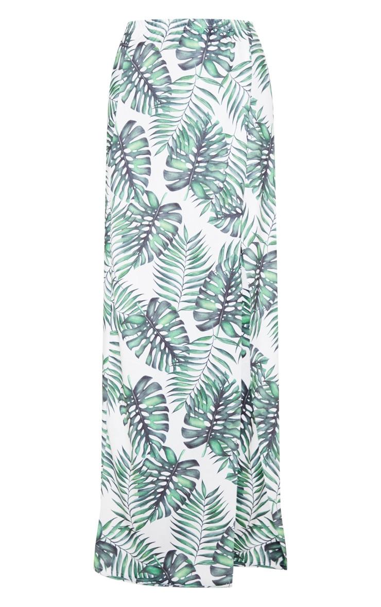 White Leaf Print Printed High Waisted Split Detail Maxi Skirt 3