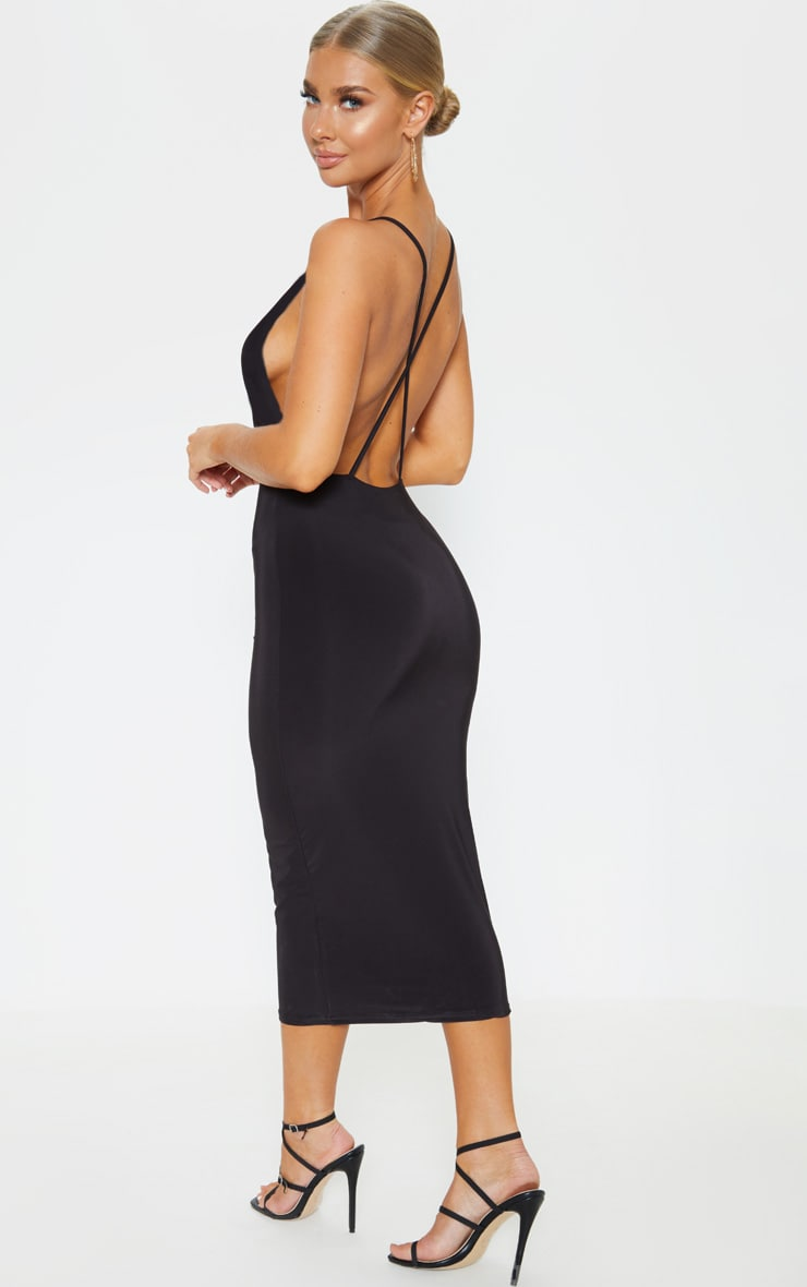Black Strappy Slinky Cross Back Midi Dress 1
