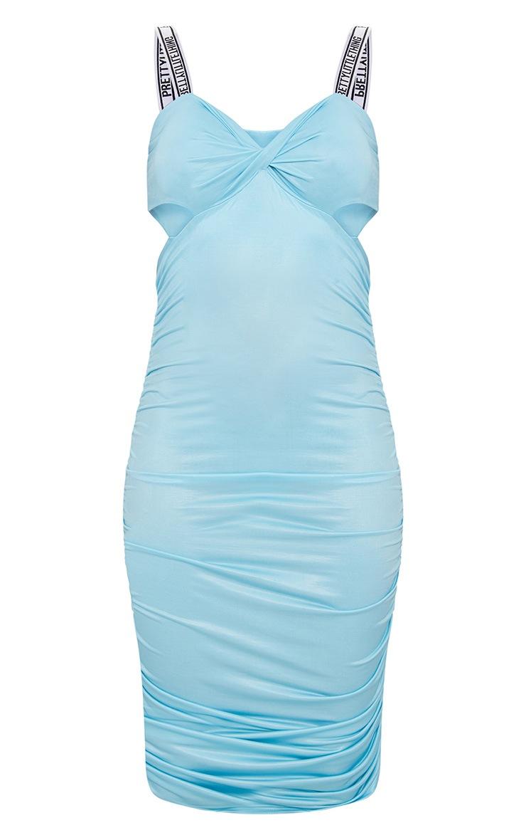 PRETTYLITTLETHING Sky Blue Twist Ruched Midi Dress 4