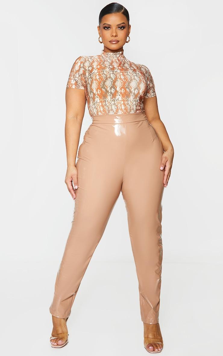 Plus Brown Snake Print High Neck Short Sleeve Bodysuit 1