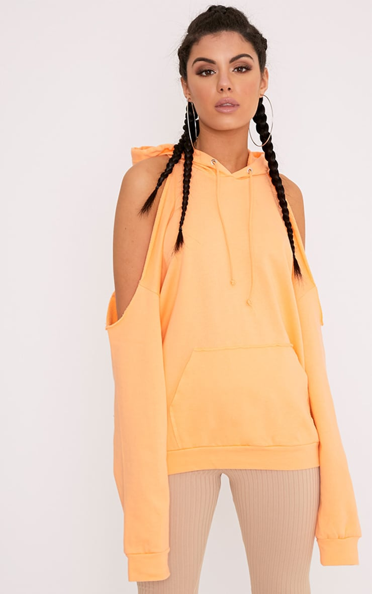 Leonah Orange Cold Shoulder Oversized Hoodie 1