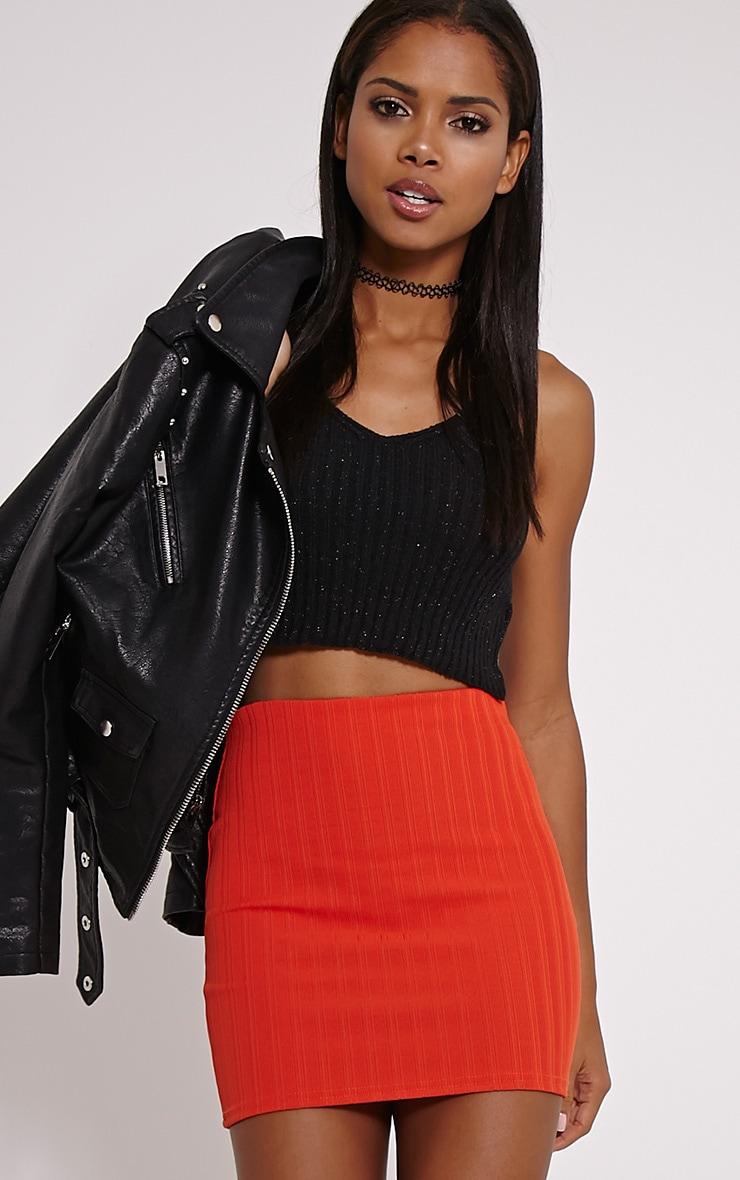 Martina Orange Ribbed Mini Skirt 1