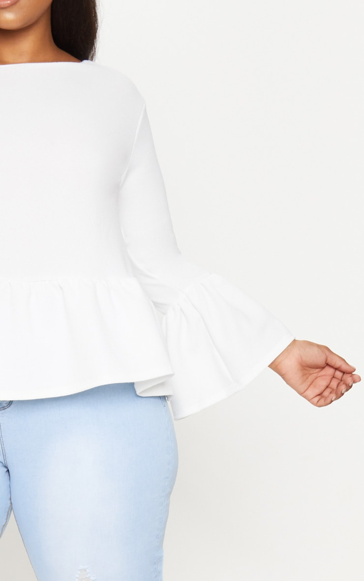 Plus White Frill Sleeve Top 5